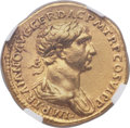 Ancients:Roman Imperial, Ancients: Trajan (AD 98-117), with Divus Trajan Pater (died ca. AD100?). AV aureus (19mm, 7.07 gm, 6h). NG...