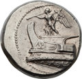 Ancients:Greek, Ancients: MACEDONIAN KINGDOM. Demetrius I Poliorcetes (306-283 BC).AR tetradrachm (28mm, 17.16 gm, 1h). NGC Choice AU 5/5 - 5/5, FineS...