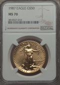 1987 G$50 One-Ounce Gold Eagle MS70 NGC....(PCGS# 9814)