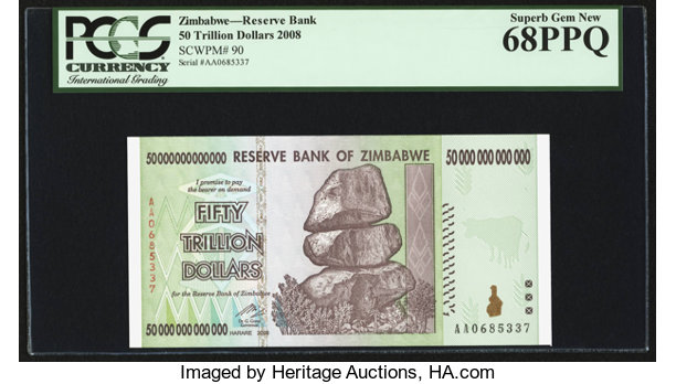 World Currency Zimbabwe Reserve Bank Of 50 Trillion Dollars 2008 Pick90
