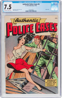 Authentic Police Cases #6 (St. John, 1948) CGC VF- 7.5 Off-white to white pages