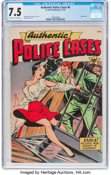 Authentic Police Cases #6 (St. John, 1948) CGC VF- 7.5 Off-white to white pages....