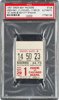 Football Collectibles:Tickets, 1957 1st Game at Lambeau Field (Dedication Game) Ticket Stub PSA Authentic - Only One Slabbed!...