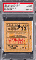 Football Collectibles:Tickets, 1936 NFL Championship Game Packers vs. Redskins Ticket Stub PSA Authentic. ...