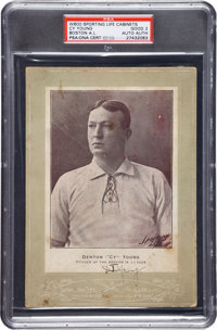 1902-11 W600 Sporting Life Cabinet Signed by Cy Young, PSA Good 2, PSA/DNA Authentic