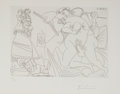 Fine Art - Work on Paper:Print, Pablo Picasso (1881-1973). Raphael and the Fornarina XV(from the 347 Series), 1968. Etching. 5-3/4 x 8-1/8 inch...