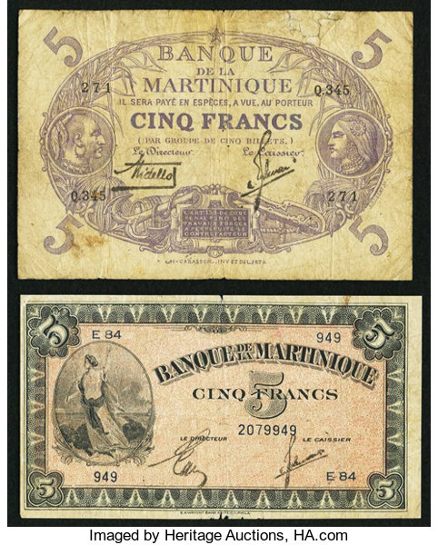 World Currency Martinique Banque De La 5 Francs L 1901 1934