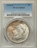 Peace Dollars: , 1922-S $1 MS65 PCGS. PCGS Population: (371/11). NGC Census:(247/16). CDN: $1,400 Whsle. Bid for problem-free NGC/PCGS MS65...