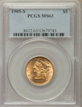 Liberty Half Eagles: , 1905-S $5 MS63 PCGS. PCGS Population: (35/35). NGC Census: (13/11).CDN: $1,200 Whsle. Bid for problem-free NGC/PCGS MS63. ...