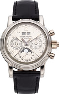 Timepieces:Wristwatch, Patek Philippe Ref. 5004P-021 Exceptional And Rare PlatinumPerpetual Calendar Split Seconds Chronograph With Moon Phases. ...