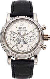 Patek Philippe Ref. 5004P-021 Exceptional And Rare Platinum Perpetual Calendar Split Seconds Chronograph With Moon Phase...