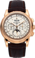 Timepieces:Wristwatch, Patek Philippe Ref. 5970R-001 Very Fine Rose Gold Chronograph WithPerpetual Calendar, Moon Phases, Tachometer And 24 Hour Ind...