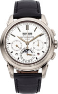 Timepieces:Wristwatch, Patek Philippe Ref. 5270G Fine & Very Rare White Gold PerpetualCalendar Chronograph With Moon Phases, Leap Year And Day/Night...