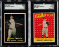 Baseball Cards:Lots, 1957 & 1958 Topps Mickey Mantle SGC Graded Pair (2)....