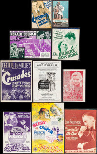 """Hard To Handle & Others Lot (Warner Brothers, 1933). Heralds (15) (4.5"""" X 6"""" - 7.25"""" -9"""") Si..."""