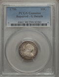 Early Dimes, 1796 10C JR-1, R.3 -- Repaired -- PCGS Genuine. Good Details....