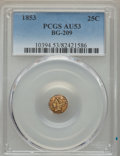 California Fractional Gold , 1853 25C Liberty Round 25 Cents, BG-209, Low R.7, AU53 PCGS....