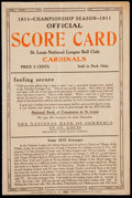 Baseball Collectibles:Programs, 1911 St. Louis Cardinals Official Scorecard....