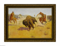 Prints:American, FREDERICK REMINGTON (American 1861 - 1909). The Buffalo Runners,1914. Period print on paper (P.F. Collier & Son). 9.75 x 14...