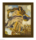 Prints:American, MAXFIELD PARRISH (American 1870 - 1966). Autumn, 1905. Print onpaper. 10 x 12in.. This print illustrated Keats' poem 'Aut...