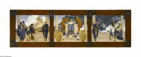 MAXFIELD PARRISH (American 1870 - 1966) Old King Cole (St. Regis), 1906 Print on paper (triptych) 6.25 x 23in