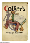 Illustration:Magazine, COLLIER'S MAGAZINE ORIGINAL COVER ILLUSTRATION. Man With Accordion.Watercolor on paper. 6.9 x 5.4in. (sight seen). ...