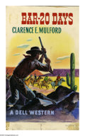 Fine Art - Painting, American:Modern  (1900 1949)  , BAR-20 DAYS. Clarence E. Mulford. A Dell Western. OriginalIllustration. Watercolor on board. 13.75 x 9in. (sight size).Num...