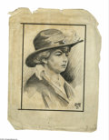 Illustration:Magazine, GILLET. Mrs. Anna Cleary Newman (Daughter Who Testified in ClearyCase). Pencil and gouache on paper. 10.75 x 8.25in. (sight...