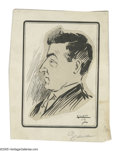 Illustration:Magazine, GILLET. Portrait of a man, 1912. Original illustration. Ink onpaper. 7.4 x 5.6in. (approx.). Signed lower right. ...