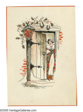 Illustration:Advertising, THREE HOLIDAY CARD ILLUSTRATIONS. Woman At Door; Winter House; and,Woman With Bird. Ink on paper. 6 x 4.25in.; 4.3 x 6.5in;... (Total:3 Items)