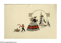 Illustration:Advertising, HOLIDAY CARD ILLUSTRATION. Woman and Boy; and Man with Woman. Inkon paper. 4.9 x 7in.; and 7.5 x 5.8in.. ... (Total: 2 Items)
