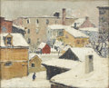 American:Portrait & Genre, TOD LINDENMUTH (1885 - 1976). Town In Snow. Oil on canvas. 20 x24in.. Signed lower left. ...