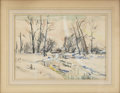 American:Impressionism, WALTER EMERSON BAUM (American 1884 - 1956). Brooke In Winter, Mid20th Century. Watercolor and gauche on paper. 20 x 24in.. ...