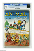 Golden Age (1938-1955):Funny Animal, Animal Comics #4 Carson City pedigree (Dell, 1943) CGC FN/VF 7.0Off-white pages. Justin Gruelle and Howard Garis art. Overs...