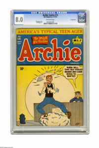 Archie #16 Crowley Copy pedigree (Archie, 1945) CGC VF 8.0 Off-white pages. Bill Vigoda cover. Bill Woggon art. This is...