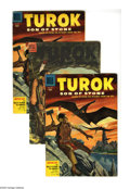Golden Age (1938-1955):Cartoon Character, Four Color Turok Group (Dell, 1954-55) Condition: Average VG+. The first two appearances of the Turok and his adventures in ... (Total: 4 Comic Books)