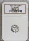 Modern Bullion Coins: , 2001 P$10 Tenth-Ounce Platinum Eagle MS70 NGC. NGC Census: (0/0).PCGS Population (6/0). Mintage: 52,017. Numismedia Wsl. P...