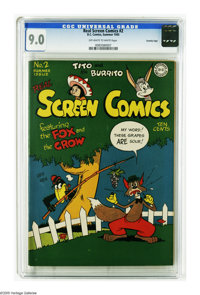 Real Screen Comics #2 Crowley pedigree (DC, 1945) CGC VF/NM 9.0 Off-white to white pages. Overstreet 2005 VF/NM 9.0 valu...