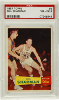 Basketball Cards:Singles (Pre-1970), 1957-58 Topps Bill Sharman #5 PSA VG-EX 4. One-half of the fiercebackcourt that fueled the game's most prominent dynasty, ...