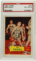 Basketball Cards:Singles (Pre-1970), 1957-58 Topps Bob Cousy #17 PSA EX-MT 6. Superb quality rookieoffering from the 1957-58 Topps basketball issue features Bo...