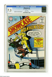 Showcase #5 Manhunters (DC, 1956) CGC VF- 7.5 White pages. Ruben Moreira cover. Art by Mort Meskin, Curt Swan, and Bill...