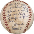 Baseball Collectibles:Balls, 1963 Denny McLain Signed & Inscribed Game Used Baseball from His First Major League Win from The Denny McLain Collection....