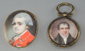 Other, Two English Watercolor Portrait Miniatures of Gentlemen, late 18th-early 19th centuries. 1-1/2 inches high x 1-1/8 inches wi... (Total: 2 Items)