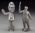 Decorative Arts, British:Other , Two Pewter Figural Automobile Mascots: English Bobby and FrenchGendarme. 10 inches high (25.4 cm) (taller)... (Total: 2 Items)