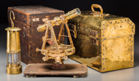 A Heller & Brightley Survey Transit, Brass Electrician's Case, and Davy Lamp, circa 1889 and later Marks: (various...