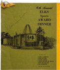 Football Collectibles:Others, 1965 Green Bay Elks Club Award Banquet Program Multi Signed by Lambeau, Lombardi, Blood, Hutson, Etc. ...