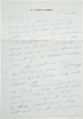 Football Collectibles:Others, 1965 Curly Lambeau Signed and Handwritten Love Letter (Lombardi Reference)....