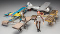 Decorative Arts, Continental:Other , Four Models of Airplanes including Smoking Caddies and Toy PilotFigure, early 20th century and later . 5-3/4 h x 9-1/2 w x ...(Total: 5 Items)