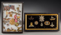 Decorative Arts, British:Other , A Collection of American and British Military Insignia withSweetheart Jewelry, circa 1940. 7-1/4 h x 13-3/4 w x 1-1/2 d inc...