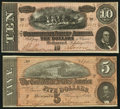 Confederate Notes:Group Lots, T68 $10 1864 PF-31 Cr. 549;. T69 $5 1864 PF-10 Cr. 564.. ... (Total: 2 notes)